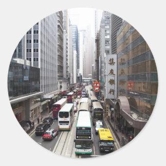 Hong Kong Street Scene Classic Round Sticker
