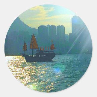 """Hong Kong Victoria Harbor Aqua tones """"junk"""" Classic Round Sticker"""