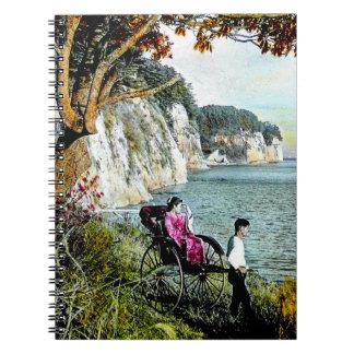 Honmoku Cliffs of Mississippi Bay Old Japan Geisha Spiral Notebook