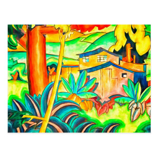 Honolulu Hawaii Vintage Art Colorful Home Postcard
