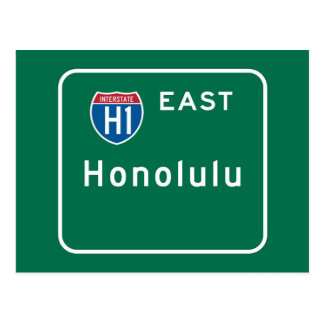 Honolulu, HI Road Sign Postcard