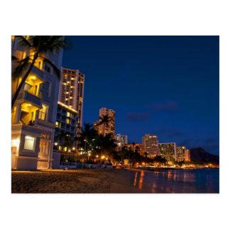 Honolulu, Oahu, Hawaii. Night exposure of Postcard