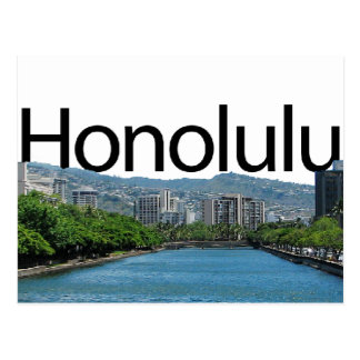 Honolulu skyline with Honolulu in the Sky Postcard