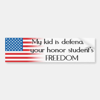 Honor Student Freedom Armed Forces Bumper Sticker