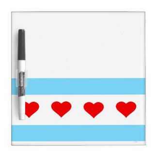 Honorary Chicago Heart Flag Dry Erase Note Board Dry-Erase Boards