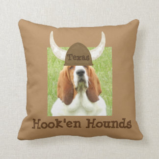 """""""Hook'em Hounds"""" Pillow with Basset Hound"""