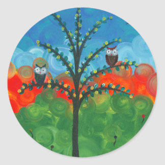 Hoolandia (c) 2013 – Owl Couples Classic Round Sticker