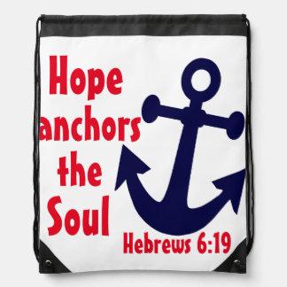 Hope anchors the soul Hebrews bible verse Drawstring Bag