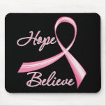 Hope Believe Brush Ribbon Breast Cancer Mouse Mats
