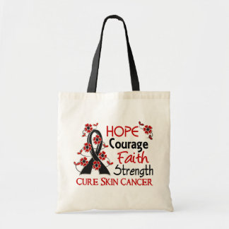 Hope Courage Faith Strength 3 Skin Cancer Tote Bags