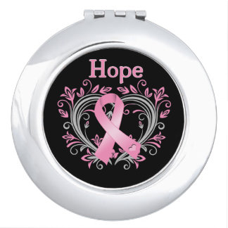 Hope Heart Ribbon Breast Cancer Compact Mirror