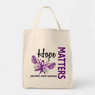 Hope Matters Butterfly Pancreatic Cancer Grocery Tote Bag