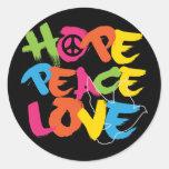 Hope Peace Love Round Sticker