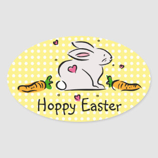 Hoppy Easter Bunny with Carrots Oval Sticker