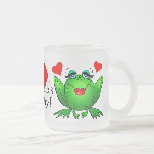 Hoppy Valentine's Day Cute Cartoon Frogs Mug