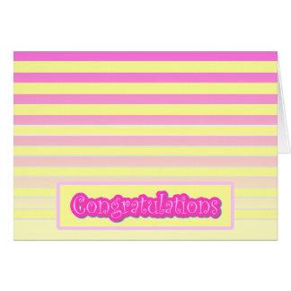 Horizontal Pink Gradient Stripe Congratulations Card