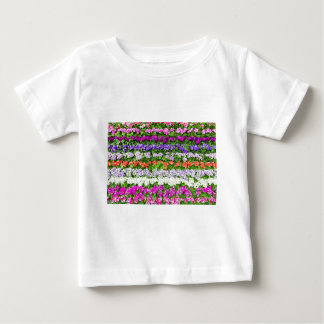 Horizontal rows of various colored flowers baby T-Shirt