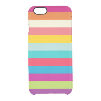 Horizontal Stripes In Summer Colors Clear iPhone 6/6S Case