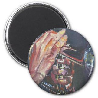 horn player 6 cm round magnet