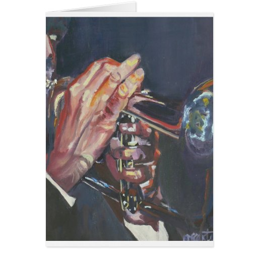 horn player greeting card