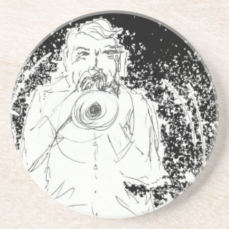 Horn player performing live, ink drawing drink coaster