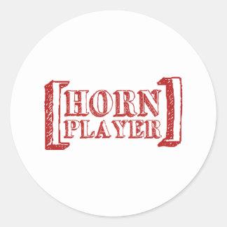 Horn Player Round Sticker