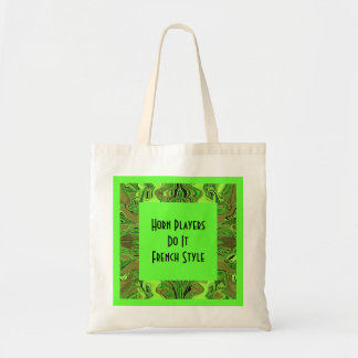Horn players humor tote bags
