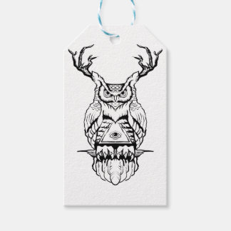 horned owl flash gift tags