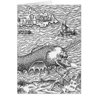 Horned Sea Serpent/Monster Greeting Card