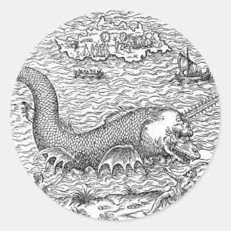 Horned Sea Serpent Round Sticker