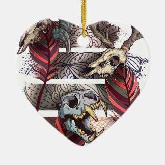 Horror Animal Curse Skeleton Skull Ceramic Heart Decoration
