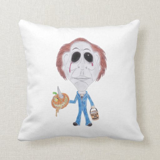Horror Cult Movie Caricature Serial Killer Cushion Throw Pillow