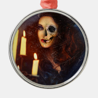 Horror Girl Candle Freak Creepy Horror Silver-Colored Round Decoration