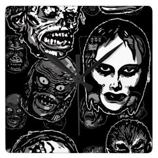 Horror Movie Monster Masks (b&w) Square Wall Clock