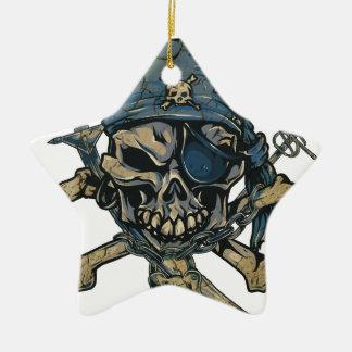 Horror Pirate Skull Ceramic Star Decoration