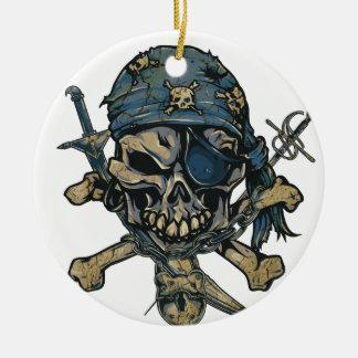Horror Pirate Skull Round Ceramic Decoration