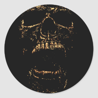 Horrorstuff Golden Skull Round Sticker