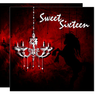 Horse and Chandelier Sweet 16 Birthday Invitation