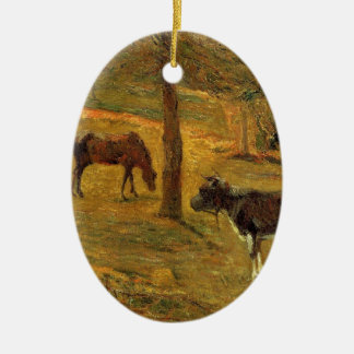 Horse and Cow in a Meadow by Paul Gauguin Ceramic Oval Decoration