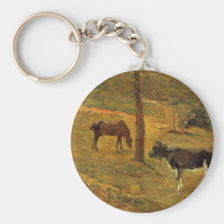 Horse and Cow in a Meadow by Paul Gauguin Basic Round Button Key Ring
