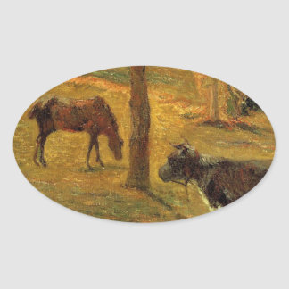 Horse and Cow in a Meadow by Paul Gauguin Oval Sticker