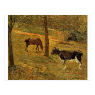 Horse and Cow in a Meadow by Paul Gauguin Postcard