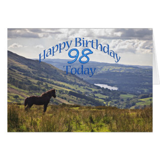 Horse and landscape 98th birthday card