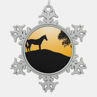 Horse and tree black silhouettes snowflake pewter christmas ornament