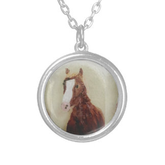 Horse Art Equine Painting Silver Plated Necklace