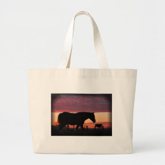 Horse at sunset large tote bag