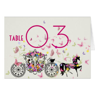 Horse & Carriage Flowers & Butterflies Table No. Card