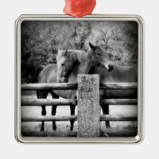 Horse Couple - Tender Love on the Farm Silver-Colored Square Decoration