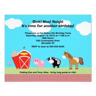 Horse, Cow & Pig Barnyard Birthday Invitations