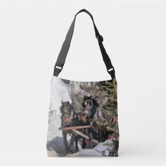 Horse Drawn Wintery Sleigh Ride Crossbody Bag